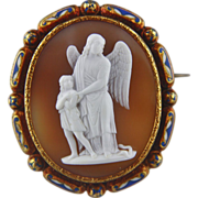 XLarge Victorian Cameo Enamel Brooch of Guardian Angel Protecting a Boy from Snake