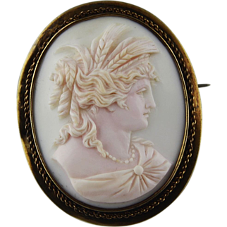 Extra Large 14k Gold Pink Conch Shell Cameo of Goddess Demeter