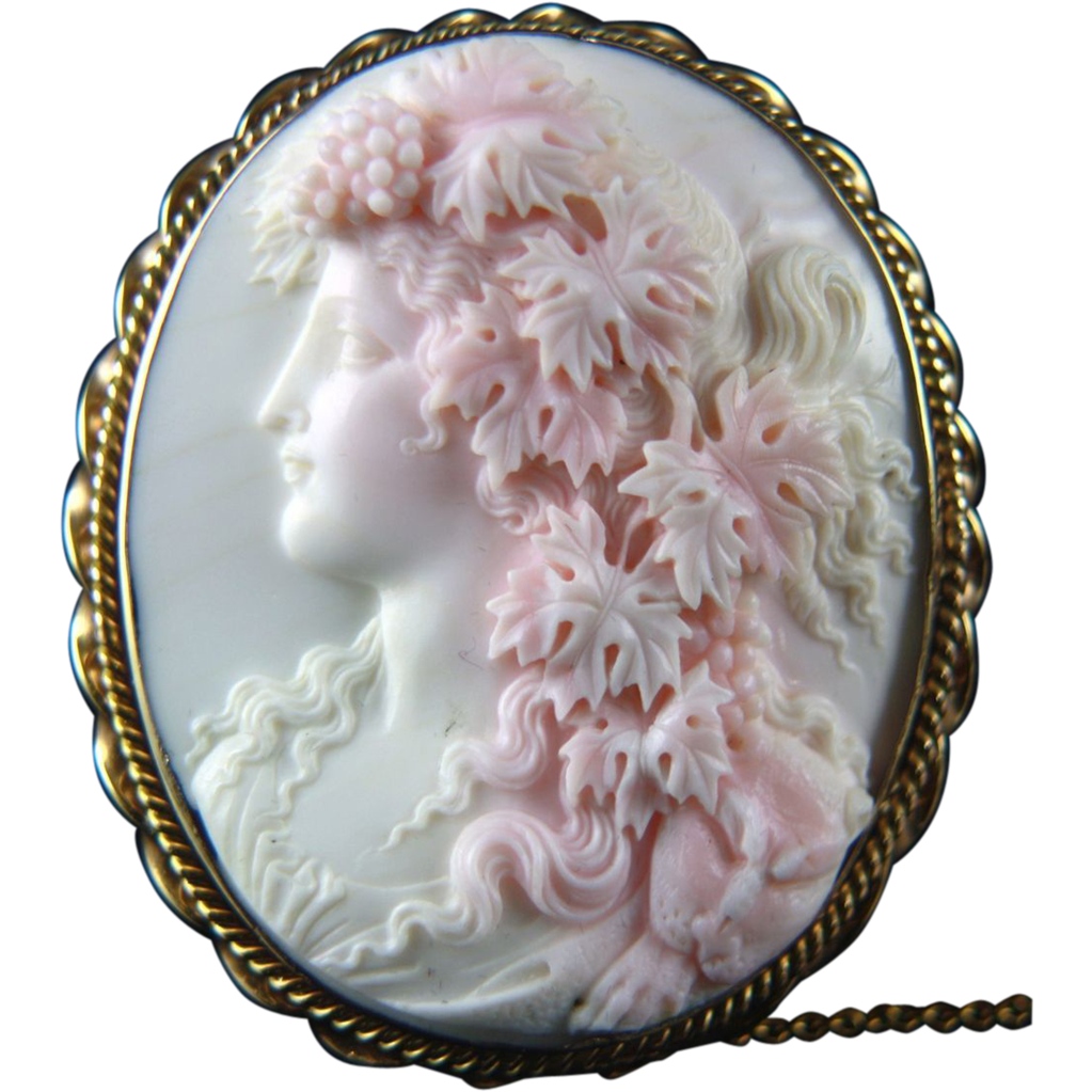 Extra Large Victorian Pink Conch Shell Cameo Of Ariadne