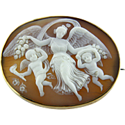 Extra Large Victorian Shell Cameo of Goddess of Dawn Flying with Cherubs