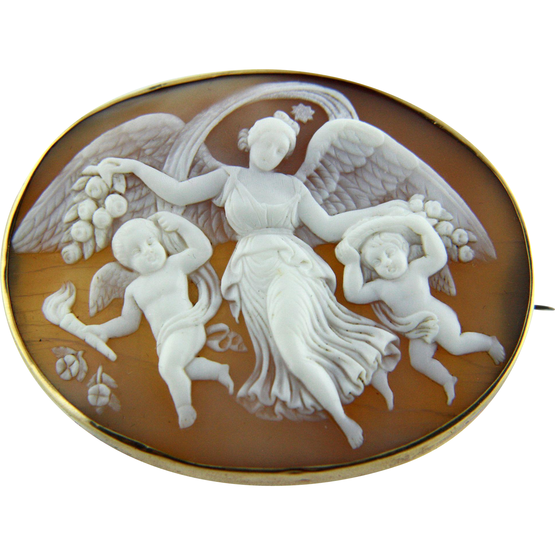 Extra Large Victorian Shell Cameo Of Goddess Of Dawn
