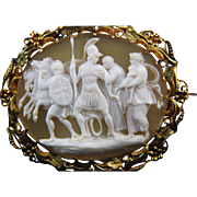 Rare Oyster Shell Cameo of Hector before His Fight with Achilles