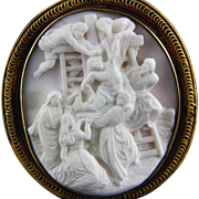 "Extra Large 14k Conch Shell Cameo Brooch Pendant of ""The Descent from the Cross"""