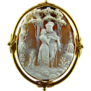 Huge 18k Gold High-relief Shell Cameo Pendant Brooch