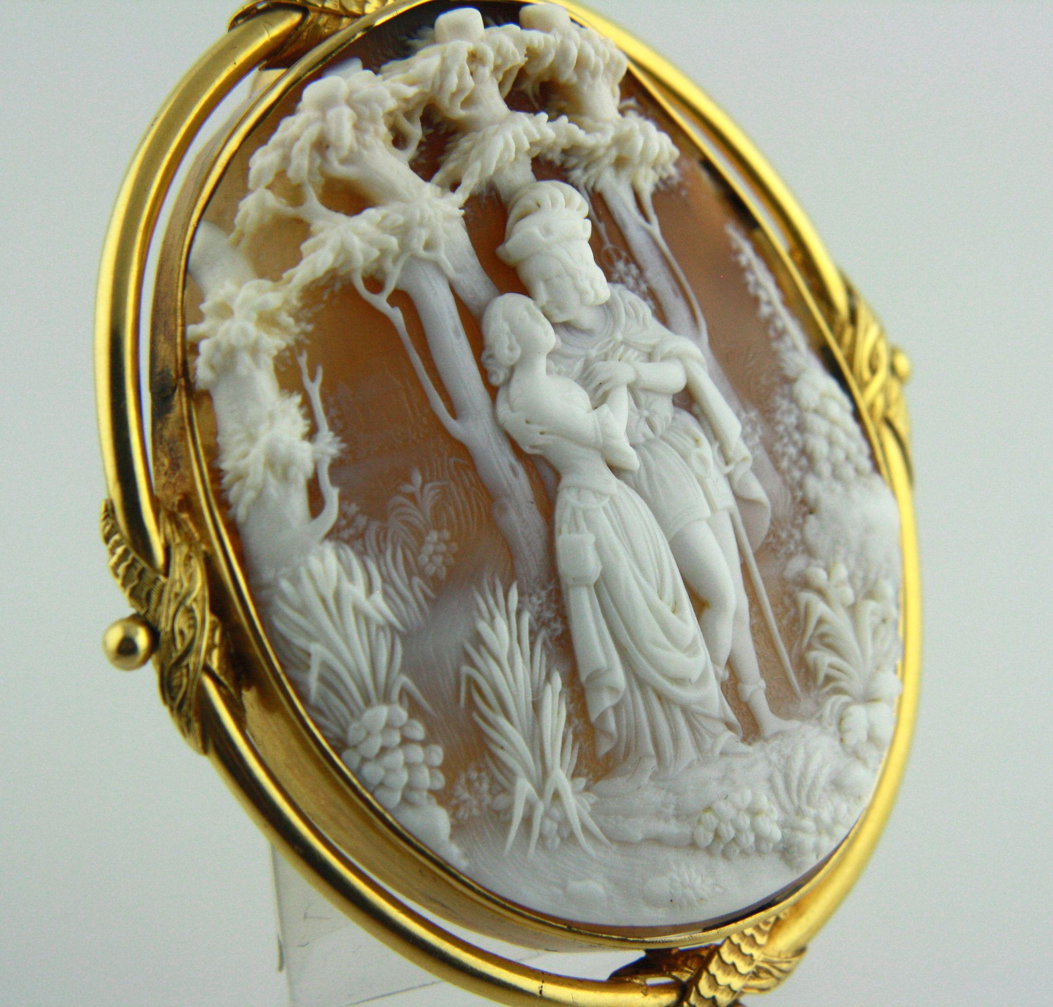 Huge 18k Gold High-relief Shell Cameo Pendant Brooch From