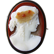 Large Color Shaded Hardstone Cameo of Goddess Flora