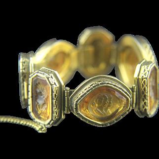 Vintage Amber-color Intaglio Glass Link Bracelet
