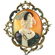 "Commesso Shell Cameo Brooch of 17th Century Gentalman Signed ""Lamont"""