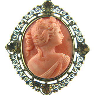 12k Gold Art Nouveau Angel Skin Coral Cameo of Artemis (Diana) Brooch Pendant