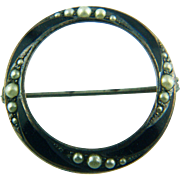 Late Victorian Seed Pearl and Black Enamel Round Circle Brooch