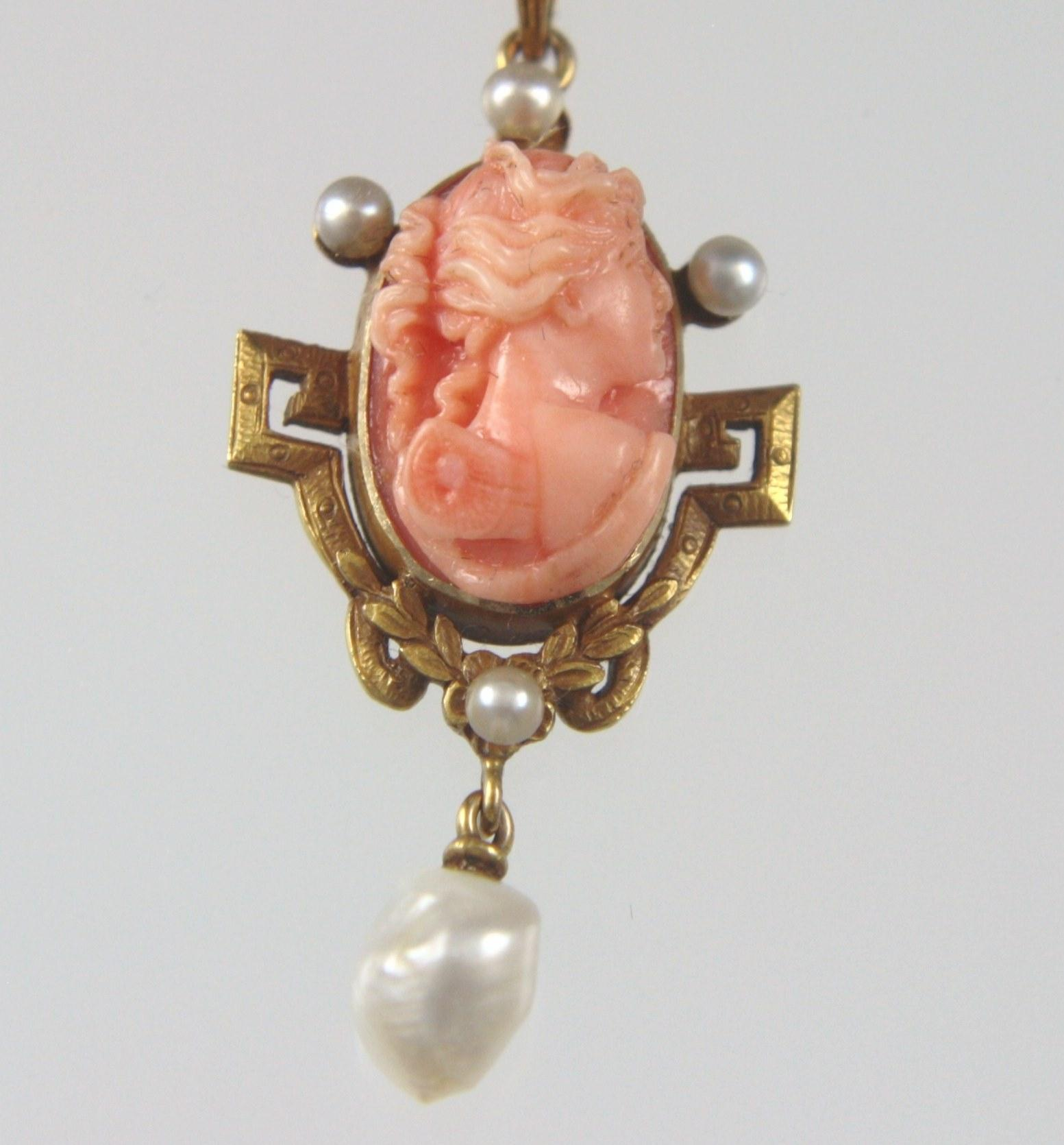 14k Angel Skin Coral Cameo Of Psyche Seed Pearl Necklace