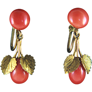 835 Silver Gold Plated Red Coral Screw Back Earrings
