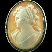 800 Silver Shell Cameo Brooch Pendant