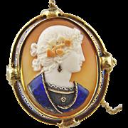 Super Rare Victorian Comesso Cameo Brooch