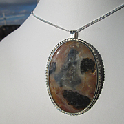 Sterling Silver Large Multi Colored Oval Agate Pendant/Brooch with Chain