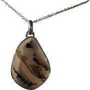 Sterling Silver Tear Drop Clear Brown Agate Pendant with Sterling Chain