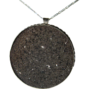 Sterling Silver Druze Midnight Black Agate Pendant/Brooch Combination with Silver Chain