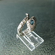 Sterling Silver Aquamarine and Diamond Wrap Around Unisex Snake Ring