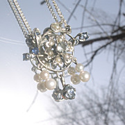 Sterling  Floral Bouquet Gemstone Pendant with Chain/Lavaliere