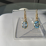9kt Yellow Gold Blue Topaz Dangle Artisan Earrings