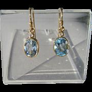 9kt Yellow Gold Blue Topaz Dangle Artisan Earrings