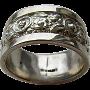 Sterling Silver Wide Floral/Petal Design Unisex Band
