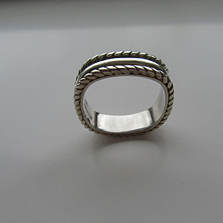 Sterling Silver Unisex Square High Polish/Twisted Wire Band