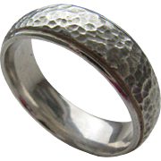 Sterling Silver Hammered Finish Unisex Band