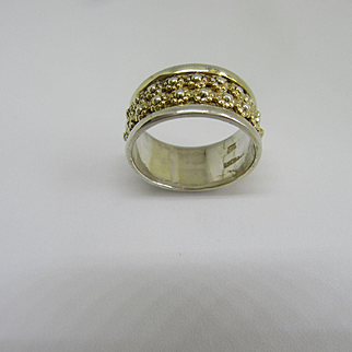 Sterling Silver and 9kt Yellow Gold Wide Floral Band
