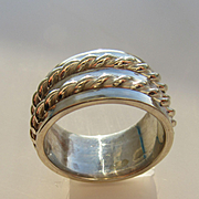 Sterling Silver Wide Band with High Polish and Twisted Wire Embellishment