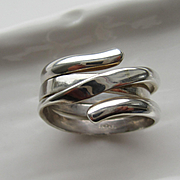 Sterling Silver Two Rings in One Unisex Band