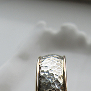 Sterling Silver and 9kt Yellow Gold Unisex Hammered Band