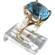 9kt Yellow Gold Cushion Cut Faceted Blue Topaz and Diamond Artisan Ladies Ring