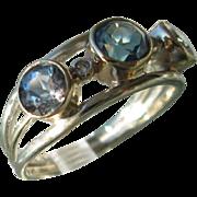 Sterling Silver/9kt Yellow Gold Triple Round Blue Topaz/Diamond Artisan Ladies Ring