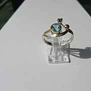 Sterling Silver/9kt Yellow Gold Blue Topaz/Sapphire Ladies Artisan Ring