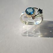 Sterling/9kt Yellow Gold Blue Topaz/Sapphire Artisan Ladies Ring