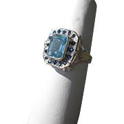 9kt Pink Gold / Sterling Silver Multi Blue Ladies Ring Blue Topaz/Sapphires
