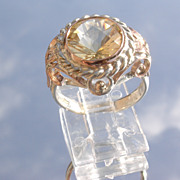 Sterling/9kt  Round Briolette Cut Citrine/Multi Diamond Ladies Ring