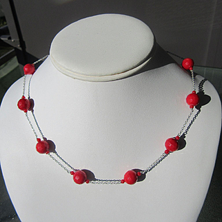 Sterling Silver Coral Necklace aka Sea Bamboo Coral