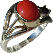 Sterling Silver/9kt Yellow Gold Oval Cabochon Dark Orange Coral and Ruby Ring