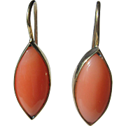 9kt Yellow Gold Ocular Angel Skin Coral Dangle Earrings