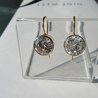 Round Large Cubic Zirconia Dangle 9kt Yellow Gold Earrings