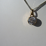 9kt Yellow Gold Large Round Cubic Zirconia Pendant