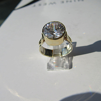 Sterling Silver/9ct Yellow Gold Round Cubic Zirconia Ladies Ring