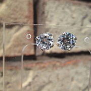 "Sterling/14kt ""1.50"" Carat Cubic Zirconia Stud Earrings"