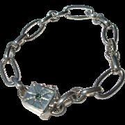 Sterling Silver Oval Link Emerald Slide Closure Bracelet