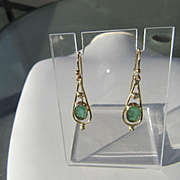9kt Yellow Gold Artisan Emerald/Diamond Dangle Earrings
