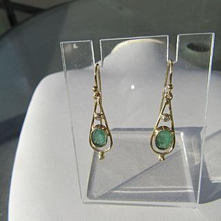 9kt Yellow Gold Artisan Emerald/Diamond Dangle Earrings