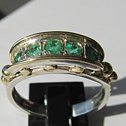 Sterling Silver/9kt Yellow Gold Five Emerald Ladies Artisan Ring