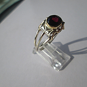 Silver/9kt Yellow Gold Oval Facet Cranberry Red Garnet Artisan Ladies Ring